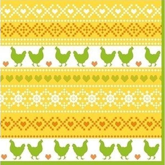 60x Pasen servetten kippen geel-oranje-groen 33 x 33 cm