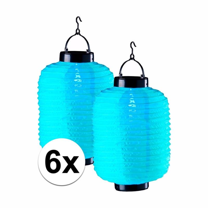 6x blauwe solar lampionnen 35 cm