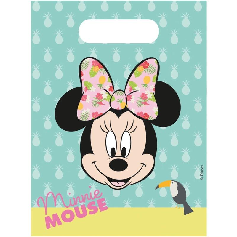 6x Disney Minnie Mouse tropical themafeest uitdeelzakjes