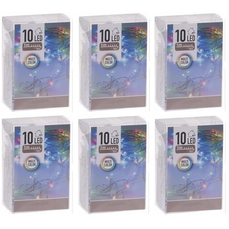 6x Kerstverlichting op batterij gekleurd 10 lampjes