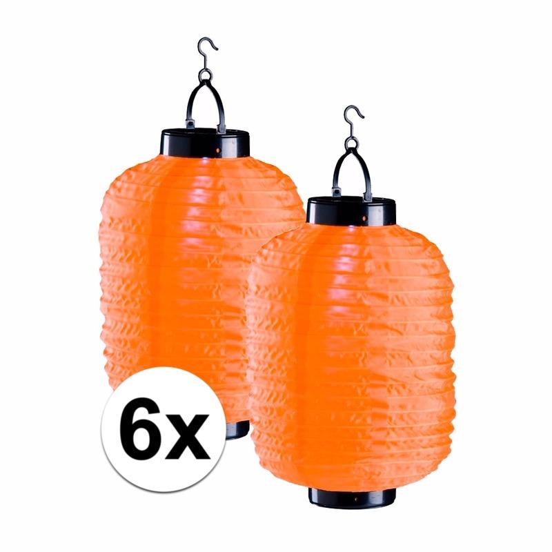 6x oranje solar lampionnen 35 cm