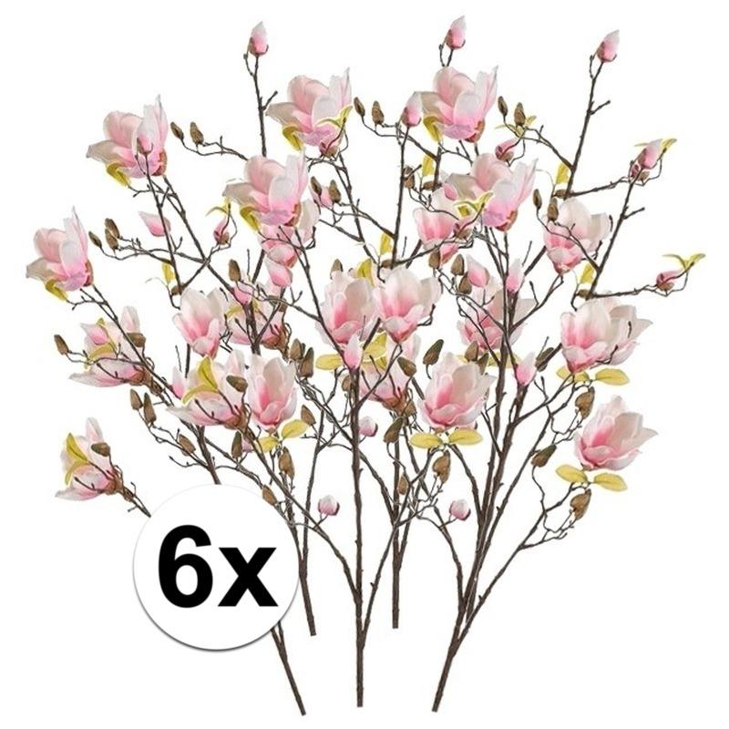 6x Roze Magnolia kunstbloemen tak 105 cm