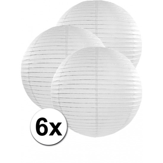 6x stuks witte luxe lampionnen van 50 cm