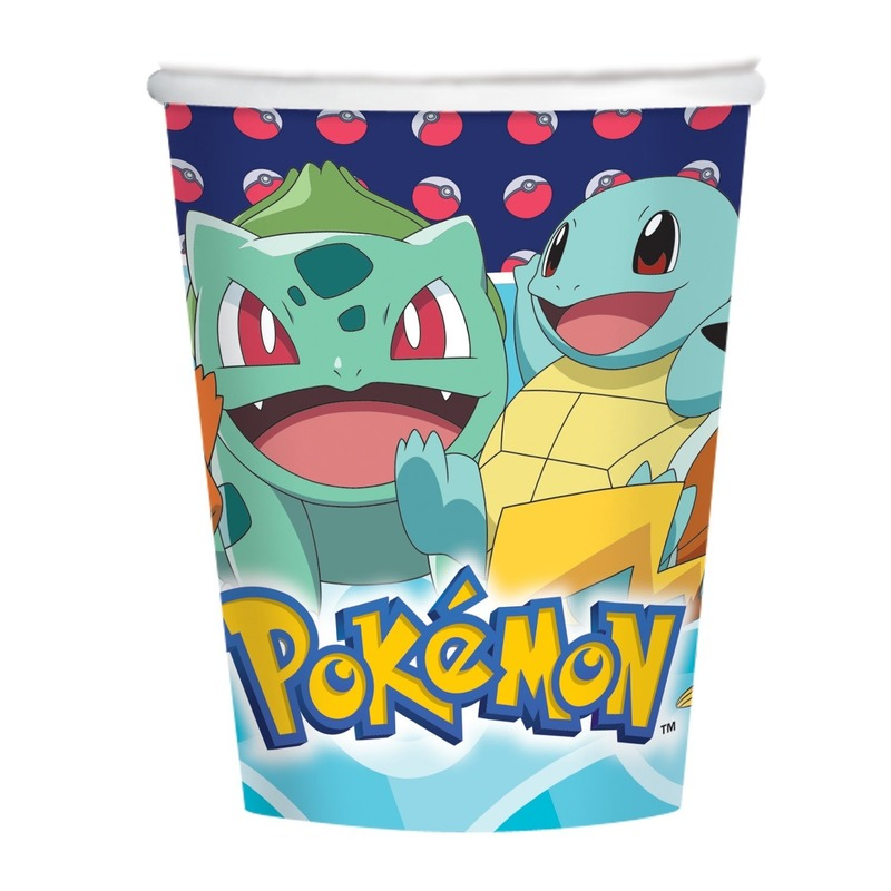 8x Pokemon themafeest drinkbekers