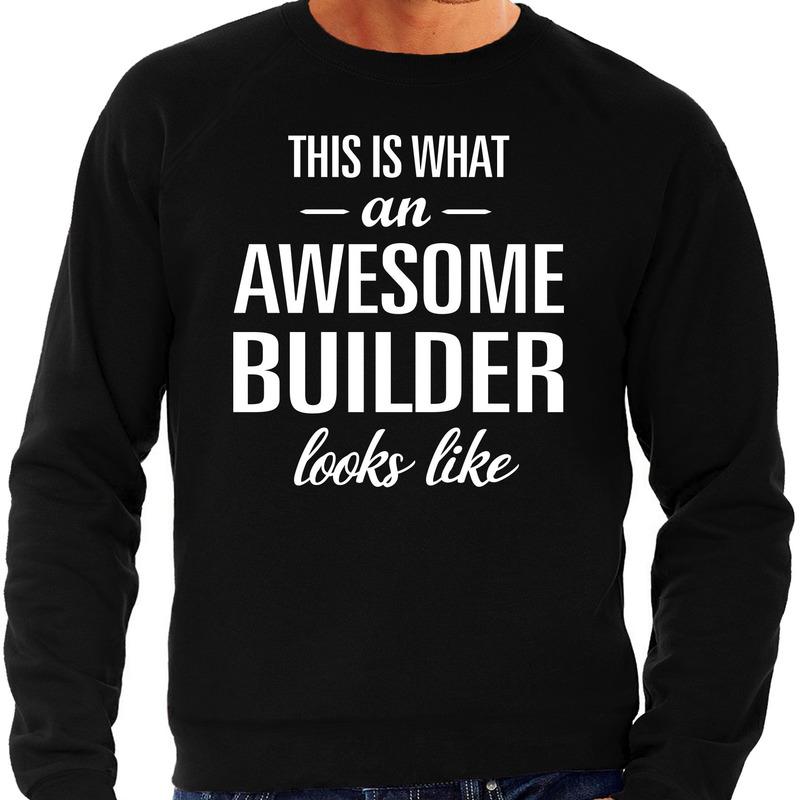 Awesome builder-bouwvakker cadeau sweater zwart heren