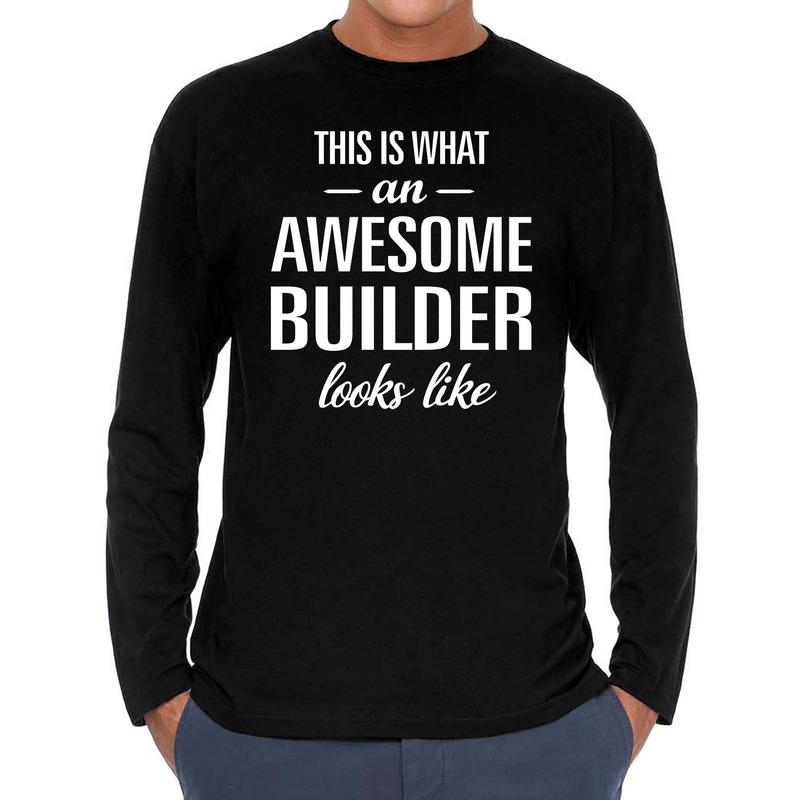 Awesome builder-bouwvakker cadeau t-shirt long sleeves heren