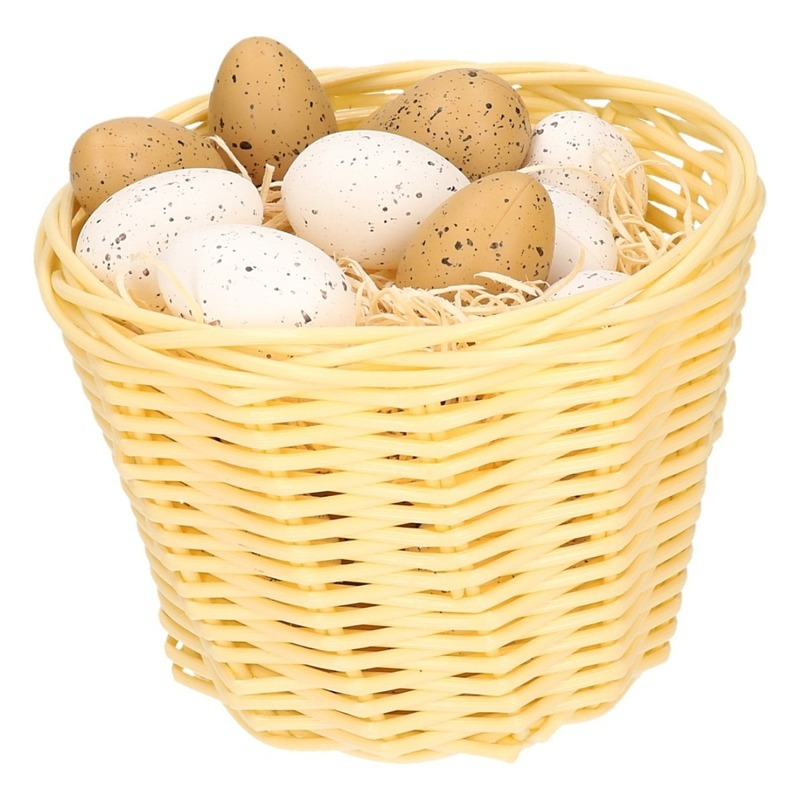 Beige Easter basket with plastic quail eggs 14cm