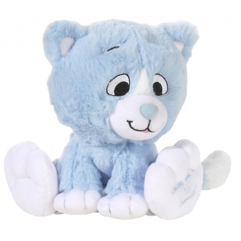 Blauwe knuffel kat-poes Give me a smile 14 cm
