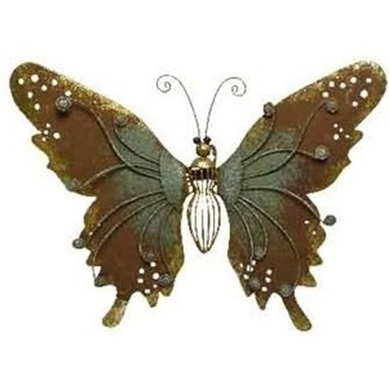 Brons-groene metalen vlinder 36 cm tuin decoratie