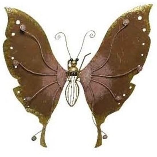 Brons-roze metalen vlinder 36 cm tuin decoratie