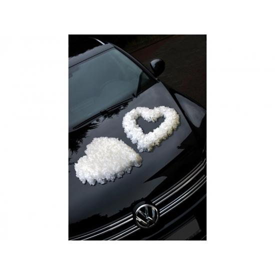 Bruiloft motorkap versiering open hart wit