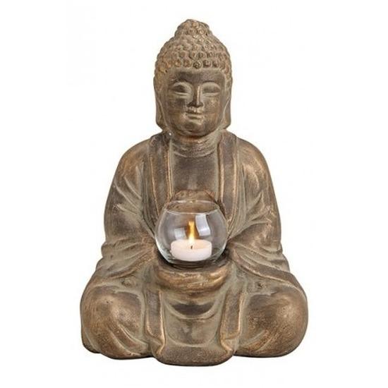 Bruin boeddha beeldje met waxine-theelicht houder 31 cm