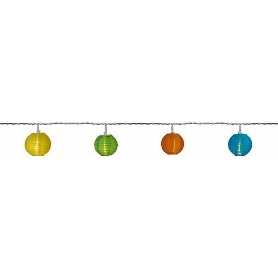 Buiten feestverlichting lichtsnoer gekleurde lampionnen 7,2 m