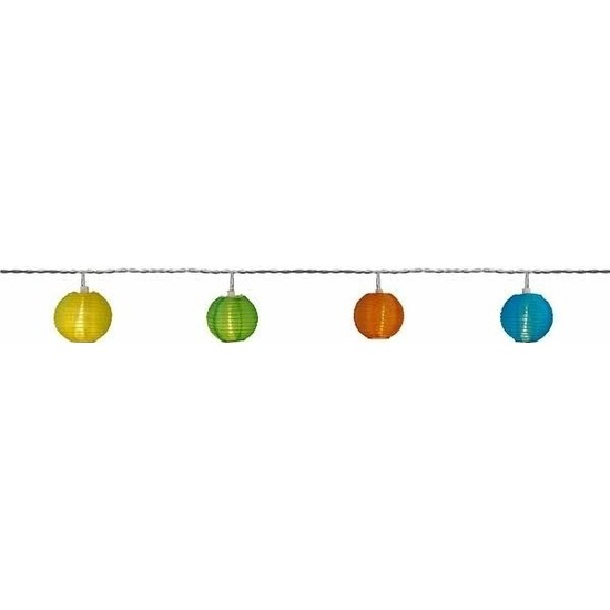 Buiten feestverlichting solar lichtsnoer kleur lampionnen 2,5 m