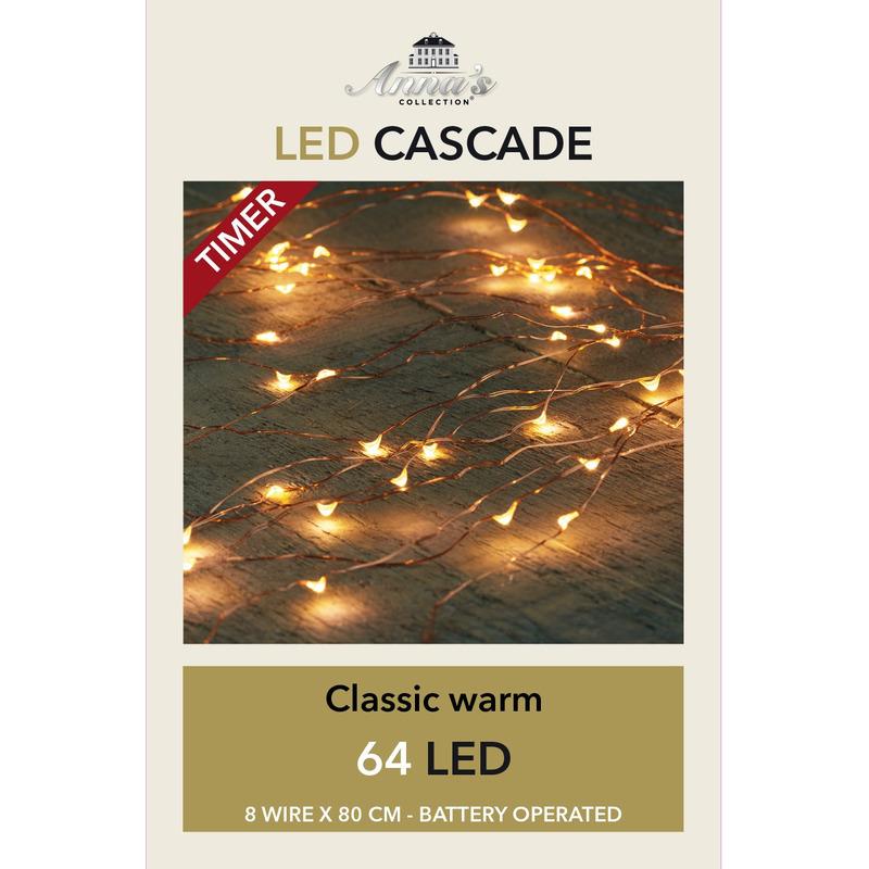 Cascade draadverlichting 64 witte lampjes op batterij