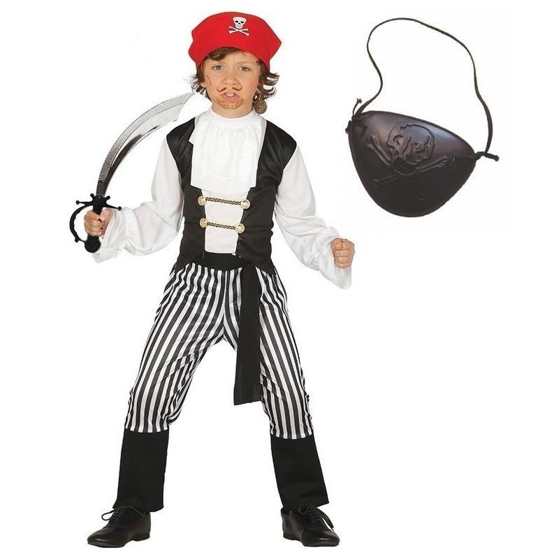 Compleet piraten kostuum maat 140-152 voor kinderen