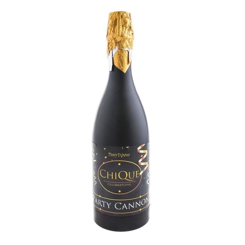 Confetti shooter champagne oud en nieuw-nieuwjaar zwart 30 cm