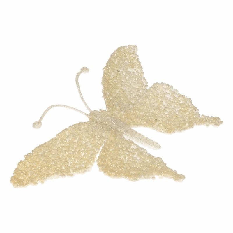 Creme glitter vlinder op clip 18 cm