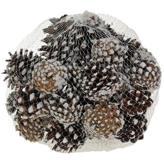 Decoratie dennenappels bruin-sneeuw 5 cm