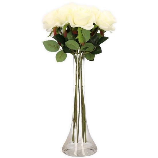 Decoratie kunstbloemen 10 witte rozen met vaas