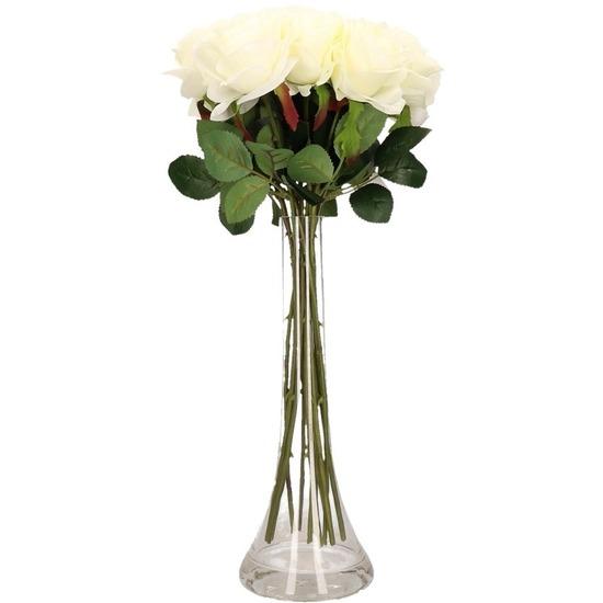 Decoratie kunstbloemen 12 witte rozen met vaas