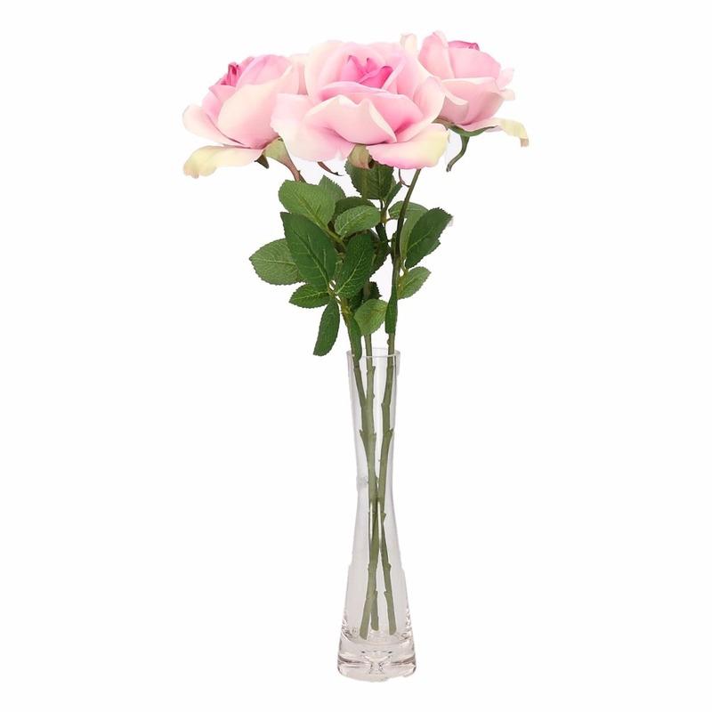 Decoratie kunstbloemen 3 roze rozen met vaas 37