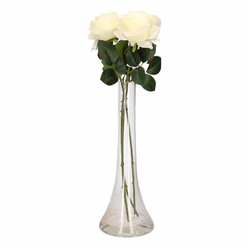 Decoratie kunstbloemen 3 witte rozen met vaas
