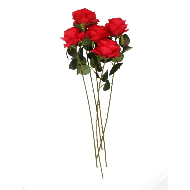 Decoratie kunstbloemen 5 rode rozen met vaas