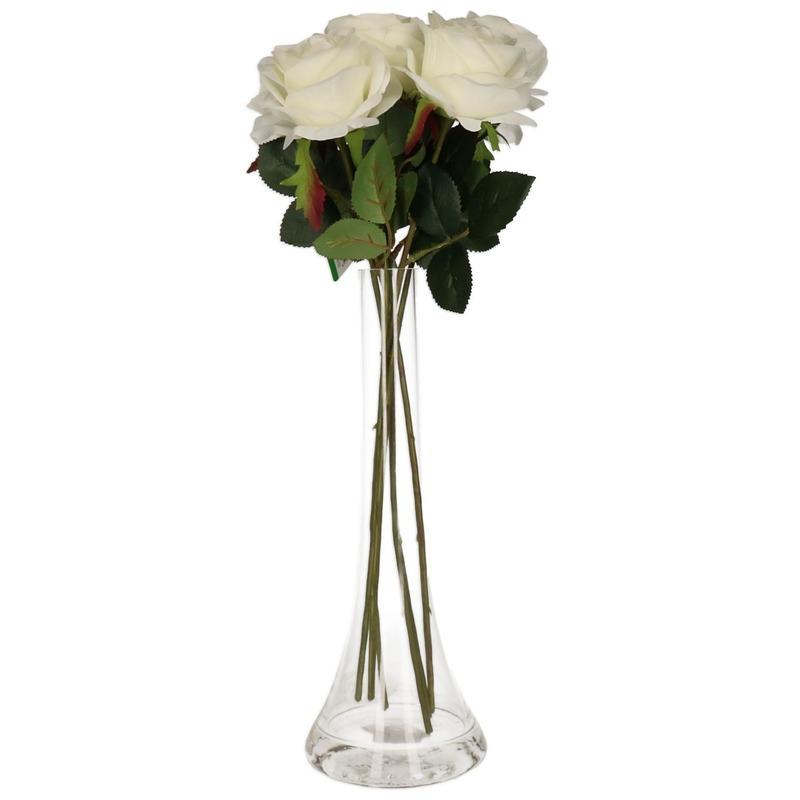 Decoratie kunstbloemen 5 witte rozen met vaas
