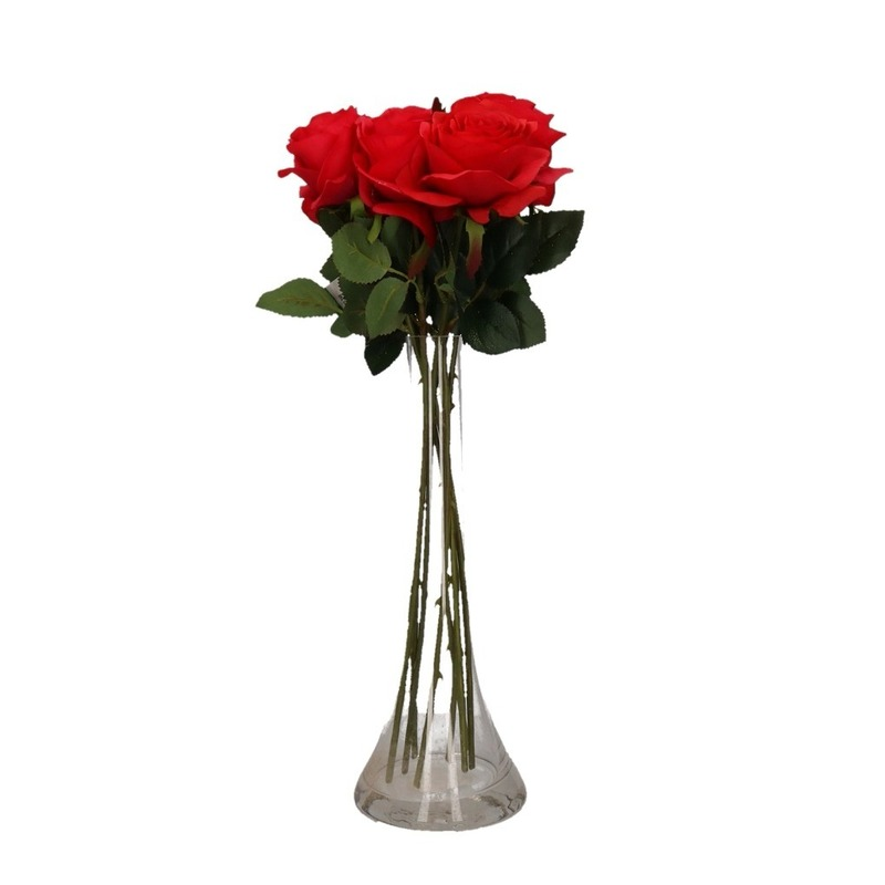 Decoratie kunstbloemen 6 rode rozen met vaas