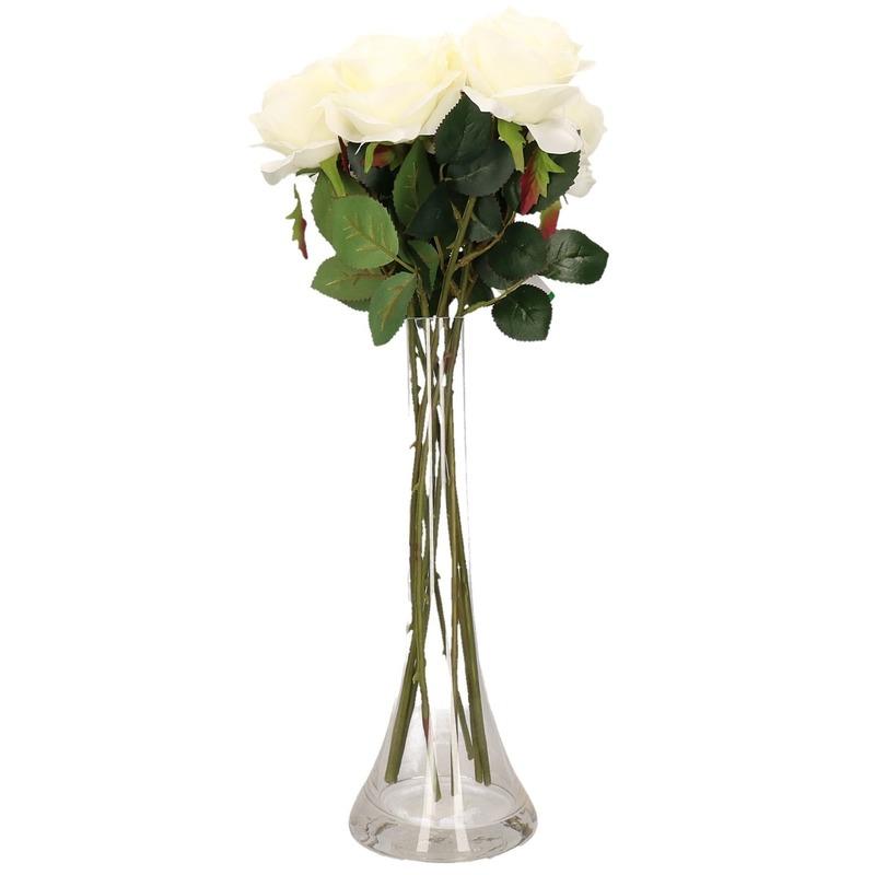 Decoratie kunstbloemen 6 witte rozen met vaas