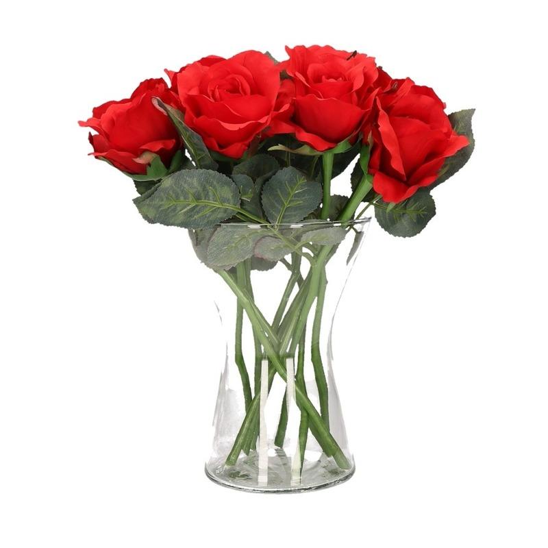 Decoratie kunstbloemen 8 rode rozen met vaas