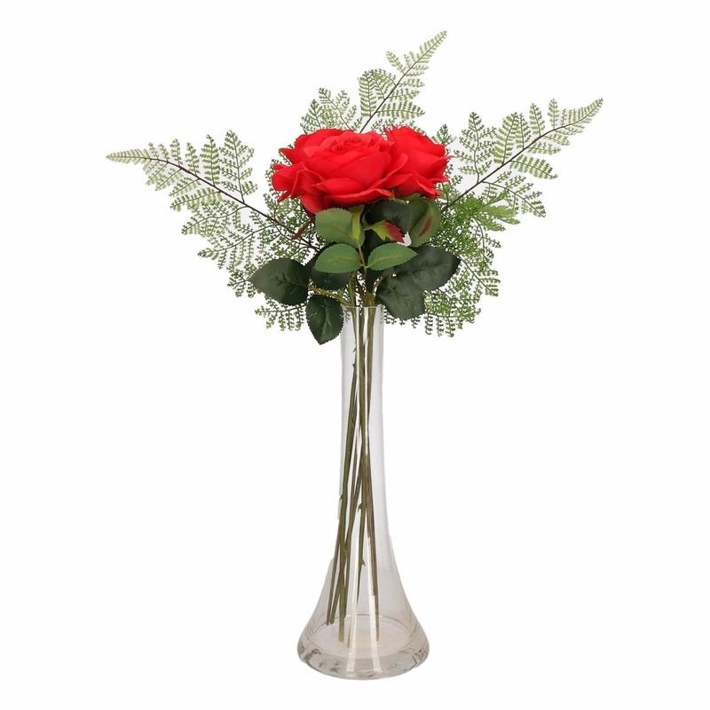 Decoratie kunstbloemen rode rozen boeketje met vaas