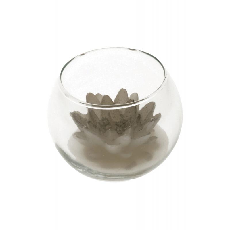 Decoratie lotus kaars in glas zilver 10 x 8 cm