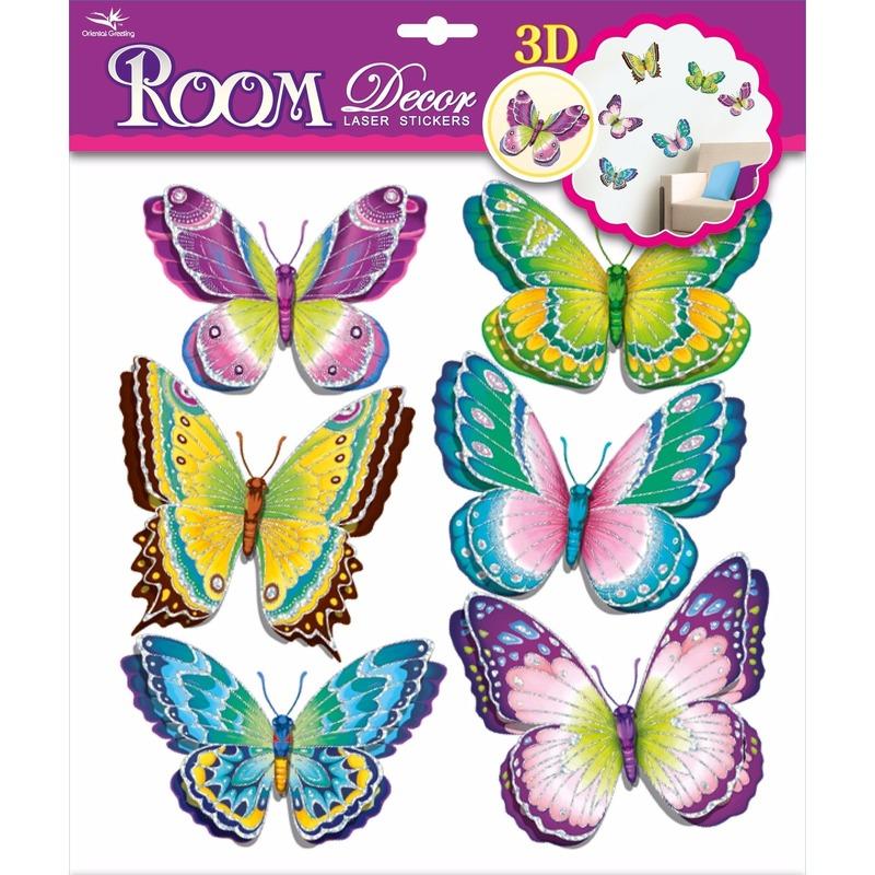 Decoratie stickers groene-paarse vlinders 3D 6 stuks