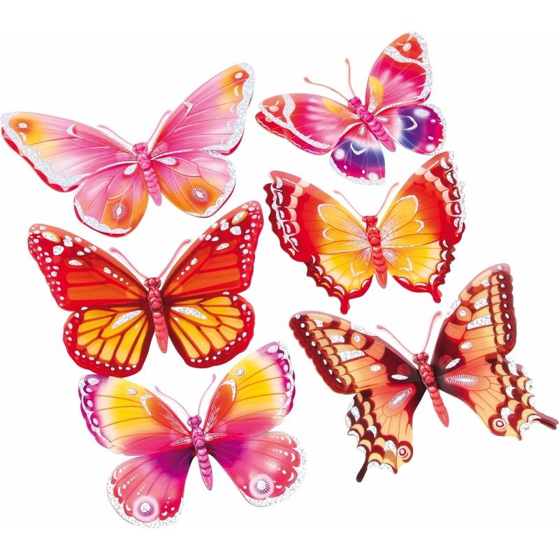 Decoratie stickers roze-oranje vlinders 3D 6 stuks