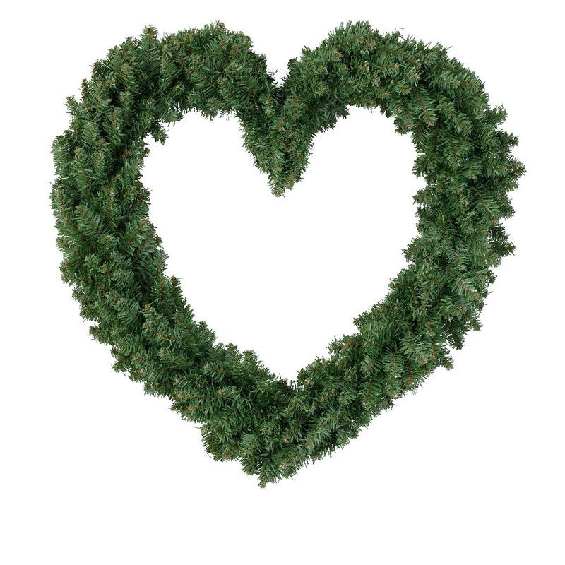 Deur decoratie kerstkrans hart 50 cm
