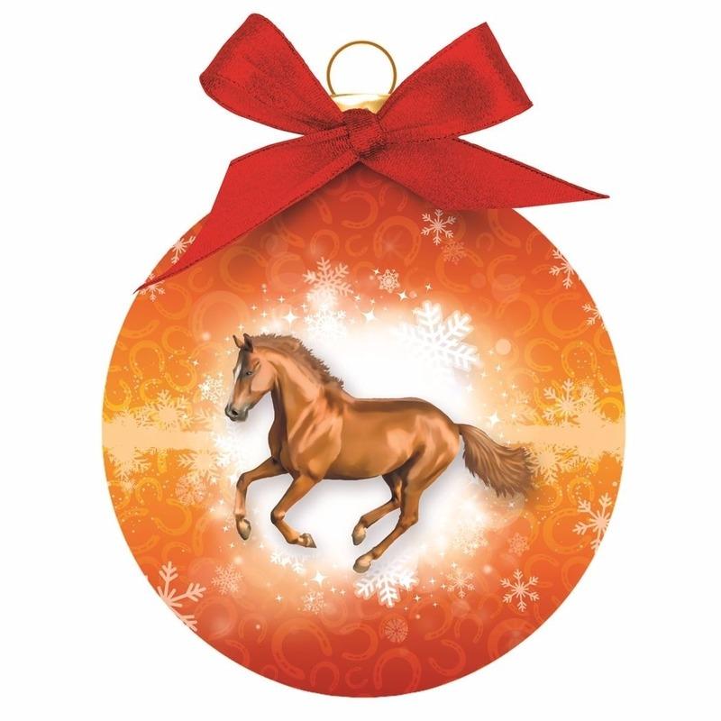 Dieren kerstballen paard oranje