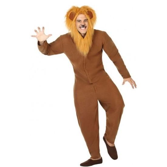 Dierenpak verkleed kostuum bruine leeuw voor volwassenen