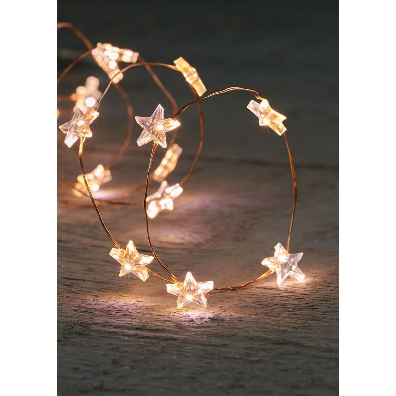Draadverlichting met timer 20 witte sterren op batterij