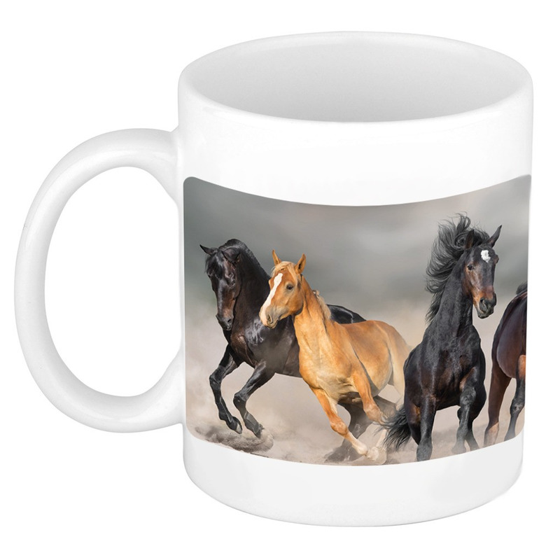 Dravende zwarte-witte paarden mok-beker wit 300 ml