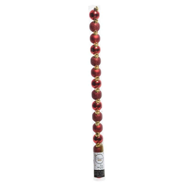 Dubbel Rode kerstversiering kleine kerstballen set 15 stuks