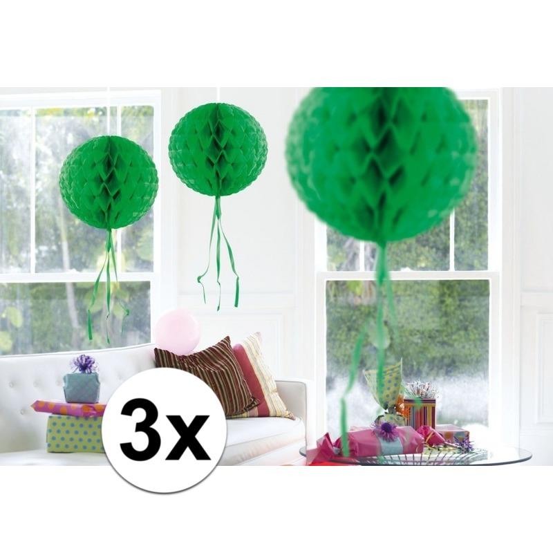Feestversiering groene decoratie bollen 30 cm set van 3
