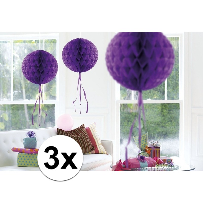 Feestversiering paarse decoratie bollen 30 cm set van 3