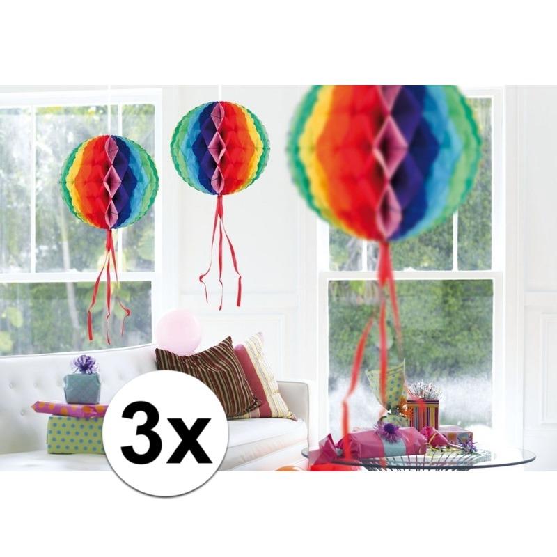 Feestversiering regenboog decoratie bollen 30 cm set van 3