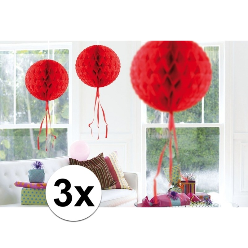 Feestversiering rode decoratie bollen 30 cm set van 3
