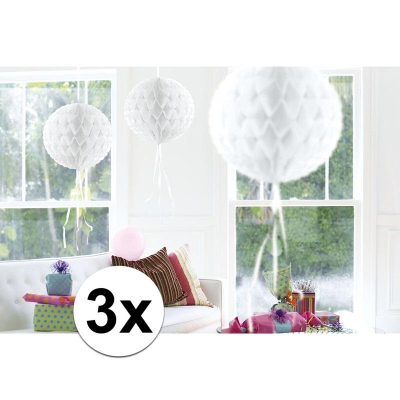 Feestversiering witte decoratie bollen 30 cm set van 3