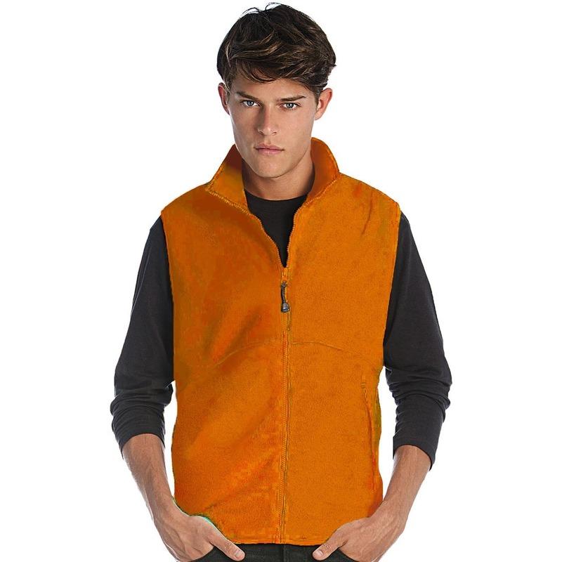Fleece outdoor bodywarmer oranje voor heren