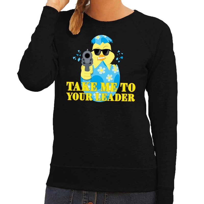 Fout paas sweater zwart take me to your leader voor dames
