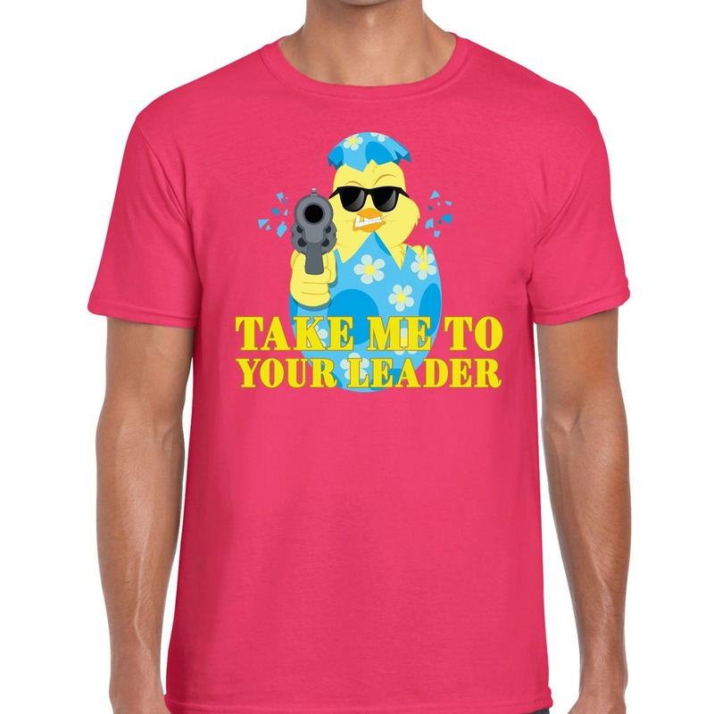 Fout paas t-shirt roze take me to your leader voor heren